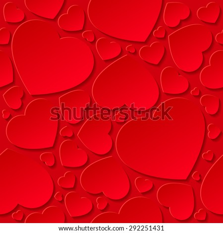 Red hearts on red background - seamless pattern. - stock vector