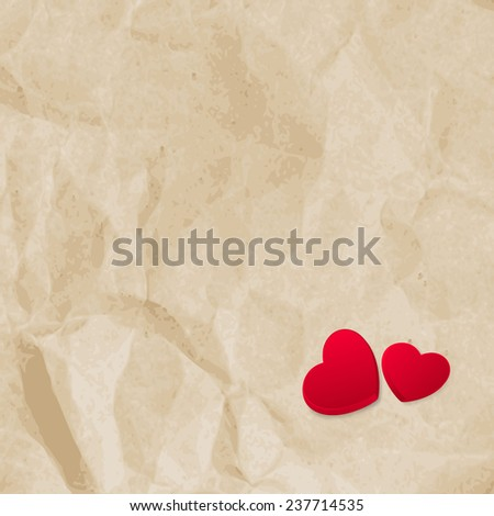 Red hearts on vintage paper background with copyspace. EPS 10 vector file included