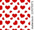 Red hearts - seamless vector pattern - stock vector