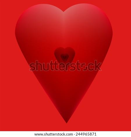 red  hearts Valentine's Day on a red background for design - stock vector