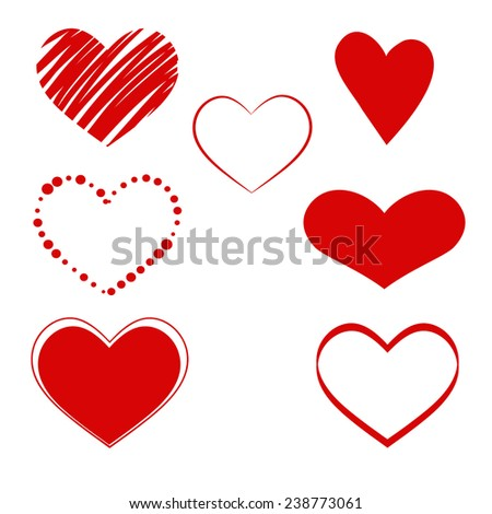 Red hearts. Vector set of hearts, various forms for design . - stock vector