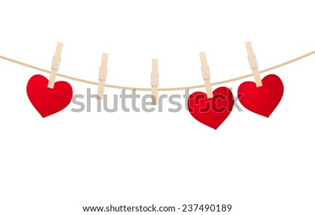 Red hearts with clothespins hanging on clothesline isolated on white background. Valentines Day - stock vector