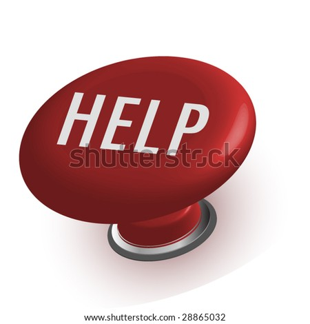 Red Help button - stock vector