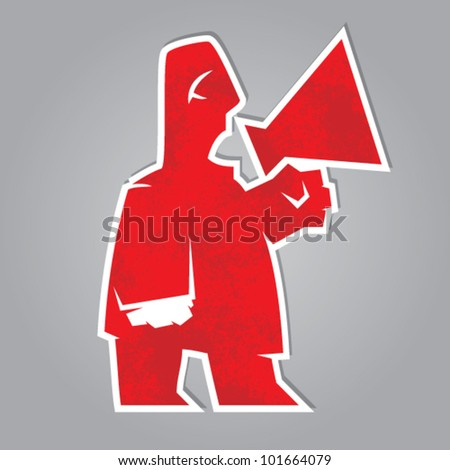 red herald. man shouting through a megaphone. vector symbol - stock vector
