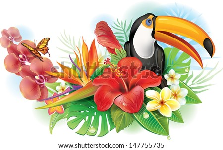 Red hibiscus, toucan and tropical flowers - stock vector