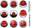Red high-detailed buttons in different styles. - stock photo