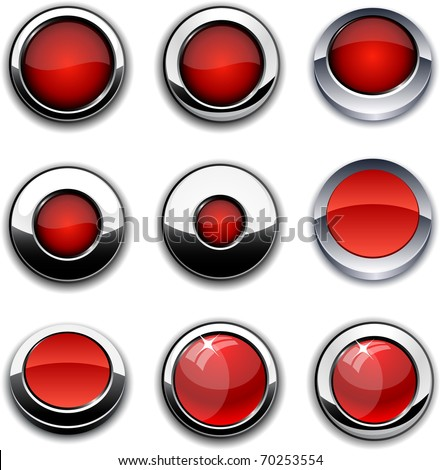 Red high-detailed buttons in different styles. - stock vector