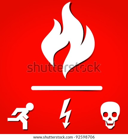 Red High Quality Warning Signs - stock vector