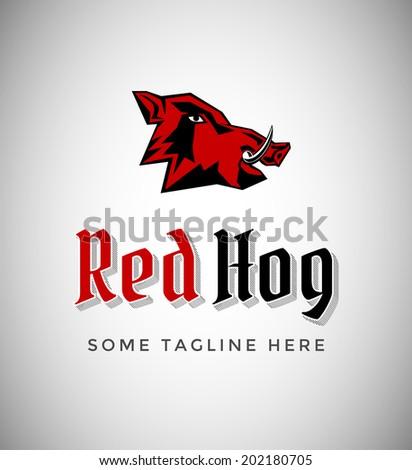 Red Hog Emblem - stock vector