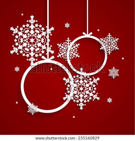 Red holiday background and Christmas decoration with snowflakes.