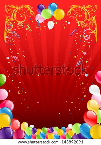 Red holiday background with balloons - stock vector