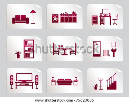 Red Home Interior Design Icons On Stickers