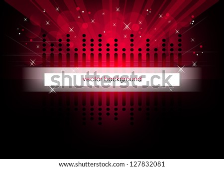 Red horizontal music background. Vector version. - stock vector