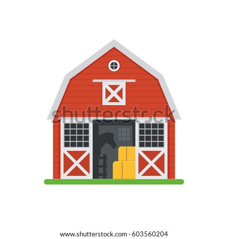 Red Horse Barn Vector Illustration Wooden Stock Vector