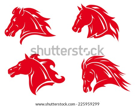 Red horse heads for mascot and tattoo design - stock vector