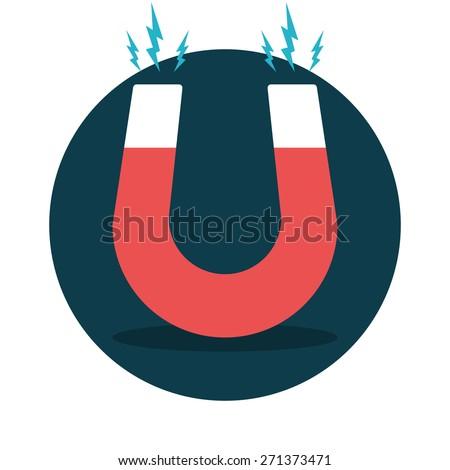 Red horseshoe magnet, magnetism, magnetize, attraction. Flat design. Vector illustration. - stock vector