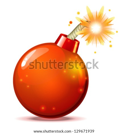 Red hot bomb - stock vector
