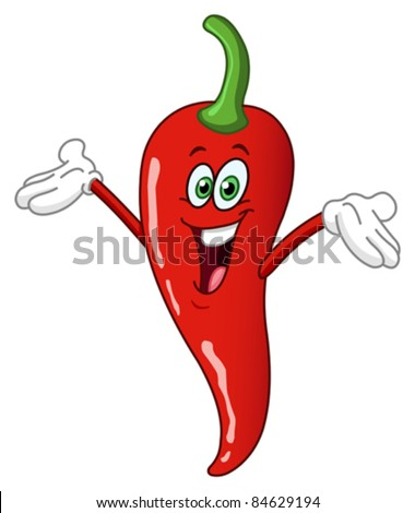 Red hot chili pepper cartoon - stock vector