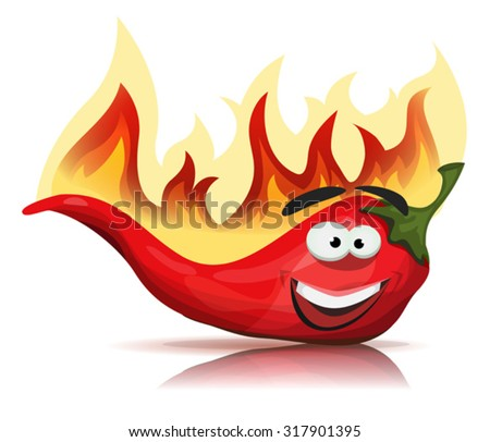 Red Hot Chili Pepper Character With Burning Flames/ Illustration of a funny cartoon red hot chili pepper spice, with burning flames for mexican and south american food recipe