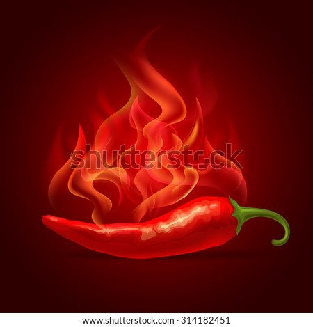 Red hot chili pepper in fire, fresh ingredient for tasty spicy food. Vector illustration.  - stock vector