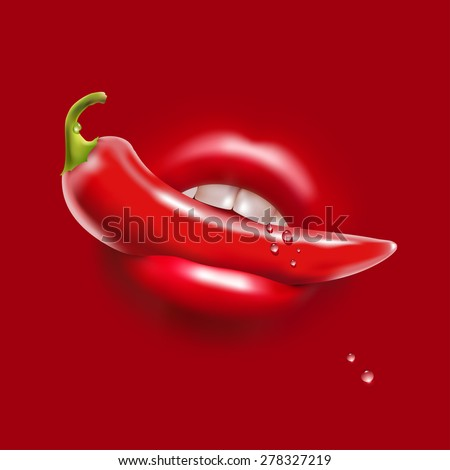 Red Hot Pepper in the Woman Sexy Mouth and Water Drops - stock vector