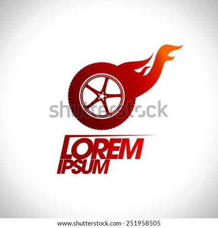 Red hot wheel logo template. - stock vector