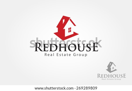 Red house logo design for real estate/property industry. - stock vector