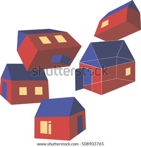 Red houses with dark blue roofs. Mystical illustration. Good for ads of building companies.