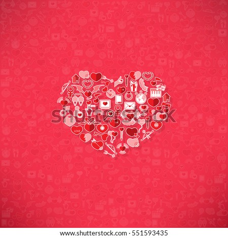 Red icon heart Valentines day card with sign on Icon love background