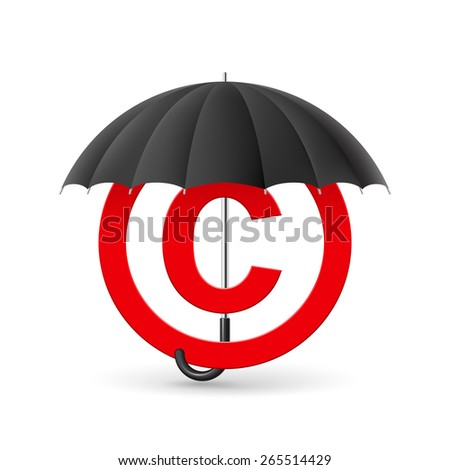 Red icon of copyright under black umbrella  - stock vector