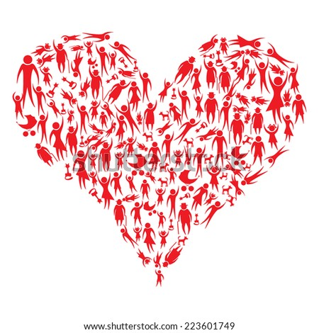 Red icon people and pets forming a big heart vector illustration - stock vector