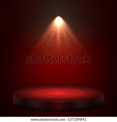 Red illuminated with spotlight stage with round podium holiday vector background.