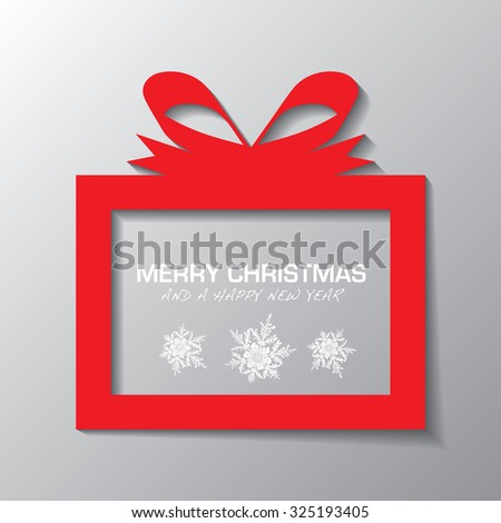 Red illustrated present icon with holiday message and snow flakes - stock vector