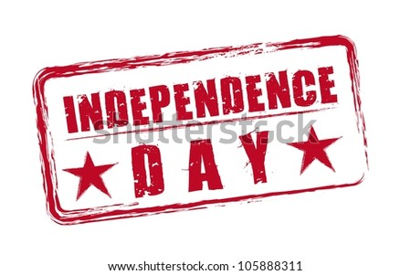 red independence day seal with stars isolated. vector - stock vector