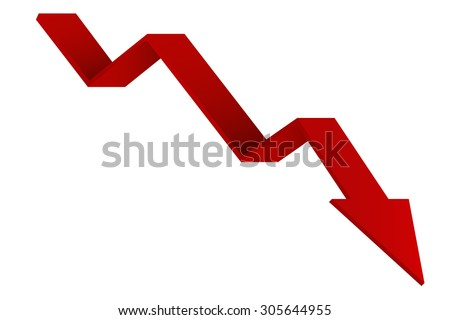 Red Indication arrows. Down arrows, statistic financial graphic. Vector illustration