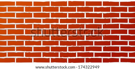 red industrial brick wall background with streaks of grout - stock vector