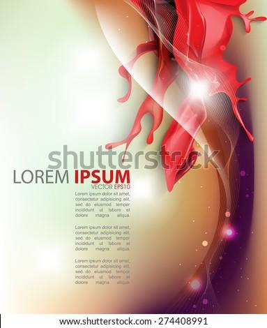 red ink flowing splatter wet paint blurred business elegant wave background eps10 vector - stock vector