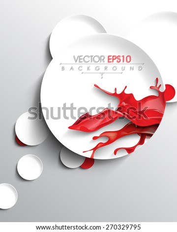 red ink paint splash inside round circle frame business background eps10 vector - stock vector
