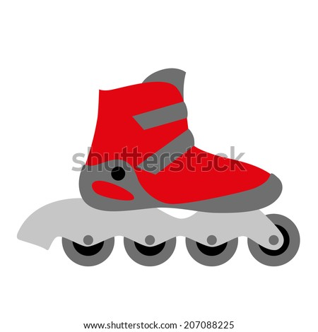red inline roller skate boot icon with four wheels and two buckles - symbol of rollerskating, sport, recreation and motion - stock vector