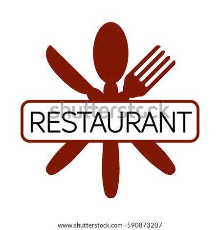 Red Intercrossed Knife Spoon Fork Restaurant Stock Vector ...