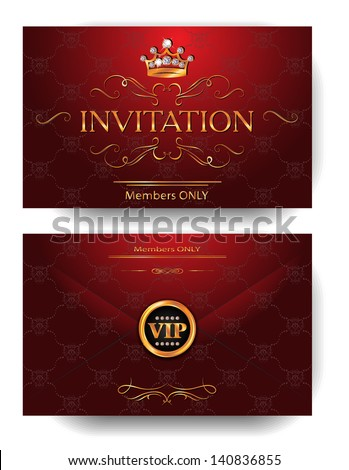 Vip invitation stock images royalty free images vectors red invitation vip envelope with gold design elements and crown stopboris Image collections