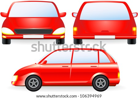 red isolated car silhouette, front and profile icon in vector - stock vector
