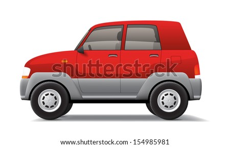 Red isolated cartoon style car. EPS10 vector.