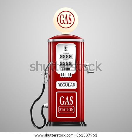 Red isolated retro gas pump. - stock vector