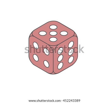 red isometric playing dice showing five four and six - stock vector
