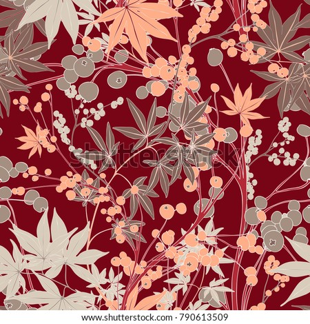 Red Japanese Vector Seamless Botanical Pattern