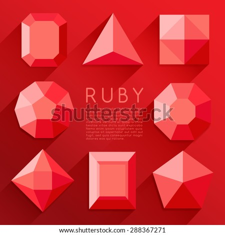 Red Jewel Shapes Collection : Vector Illustration - stock vector