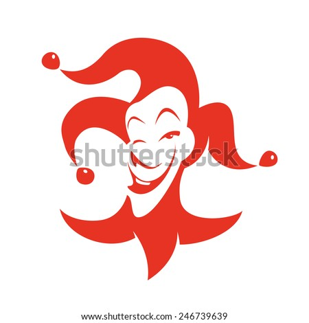Red joker with a sly look and a smile. Vector hand drawn illustration - clown in hat with bells. - stock vector