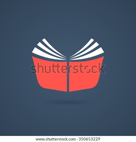 red journal icon with shadow. concept of booklet, bookshelf, ebook, reader, classbook, e-book, scrapbook. isolated on dark blue background. flat style trend modern book logo design vector illustration - stock vector