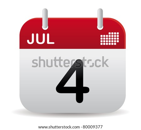 red july calendar stand up - stock vector